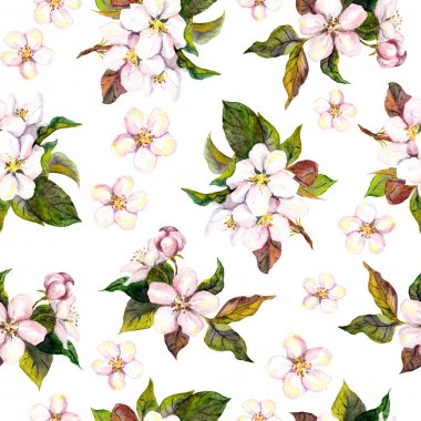 Seamless floral pattern - pink apple and cherry flower blossom. Watercolour