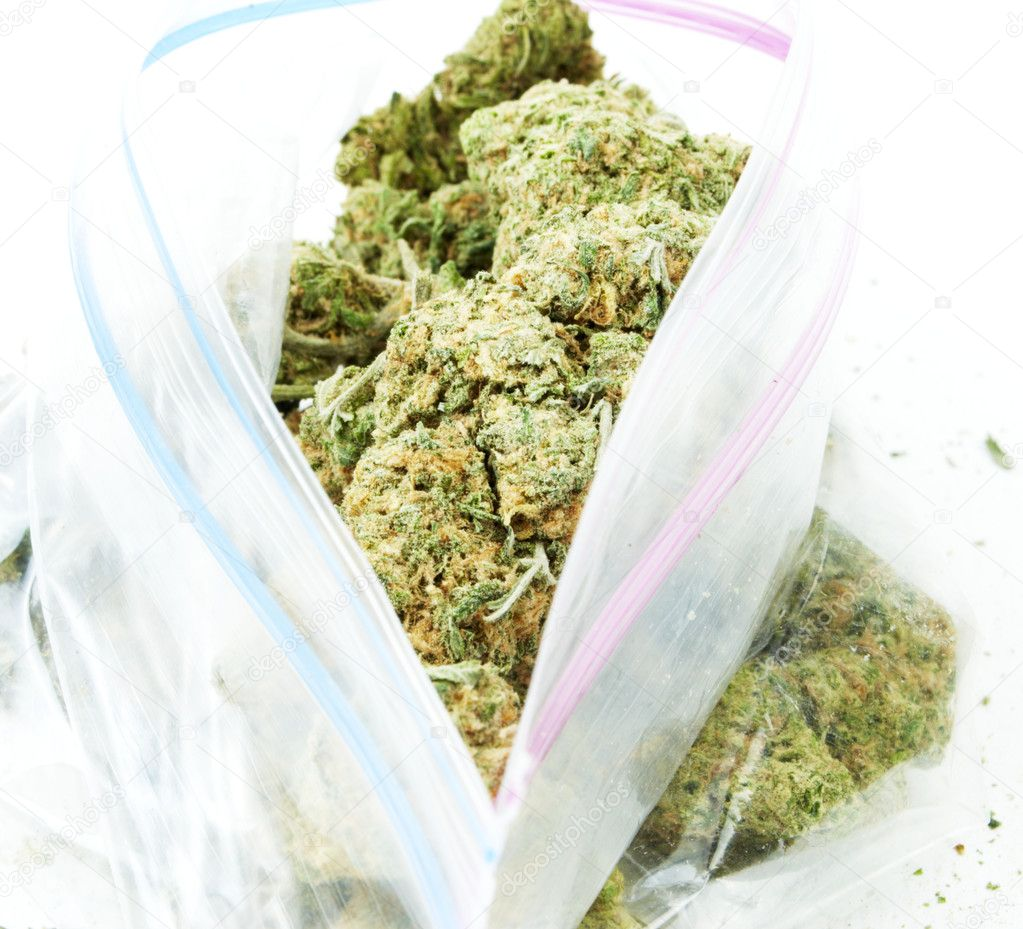 Bag of Weed. Marijuana and Cannabis on White Background