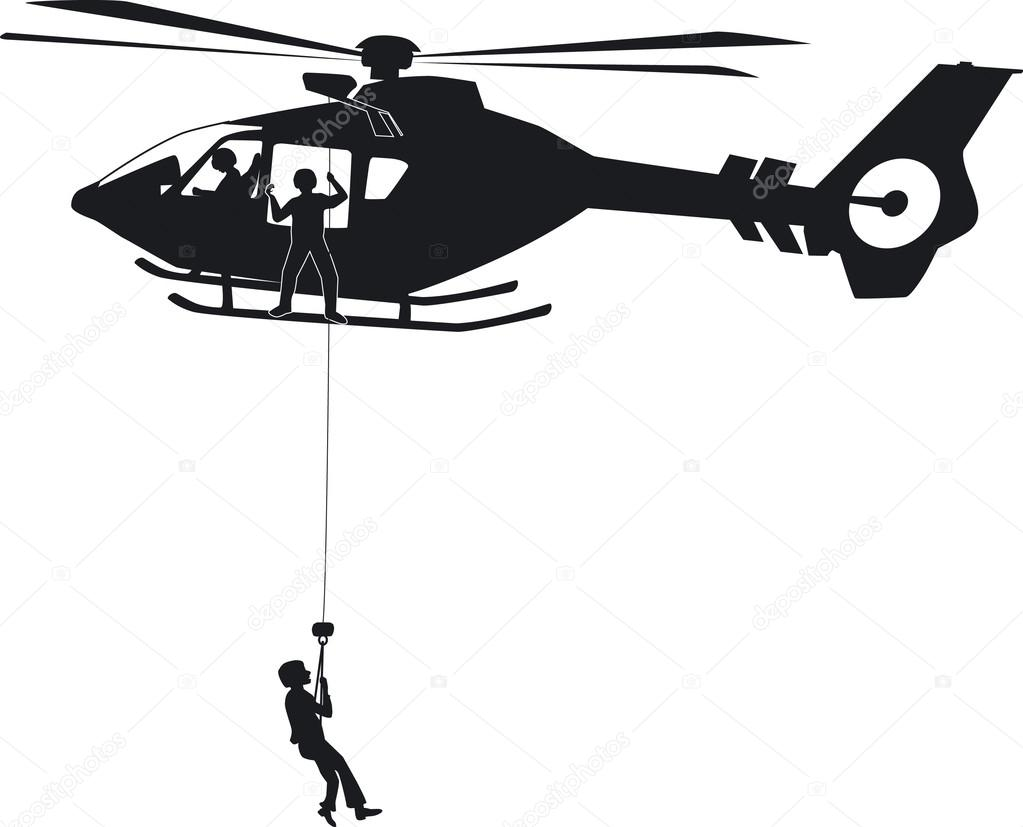 an air rescue with a eurocopter ec135th � stock vector
