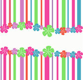 Striped, abstract background with flowers