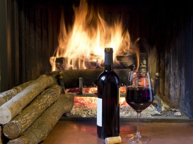 a glass of wine in front of a fireplace