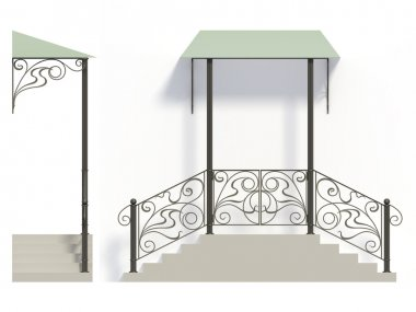 Wrought iron stairs railing and canopy