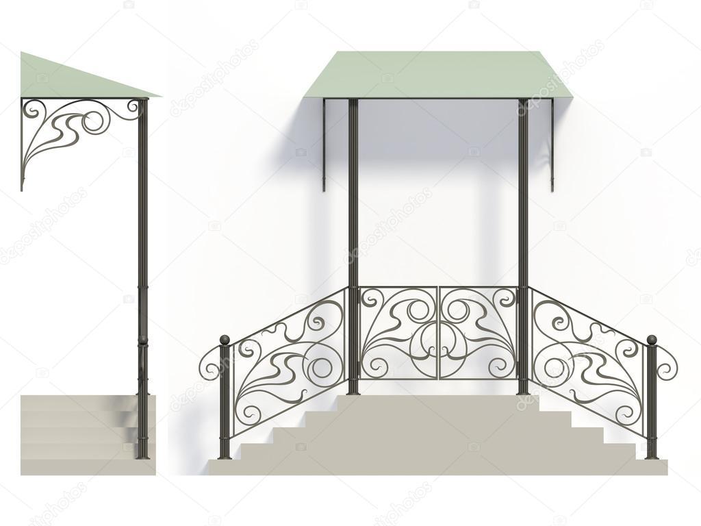Auvent et rampe d 39 escalier en fer forg photographie egorovajulia7 21082379 for Auvent fer forge