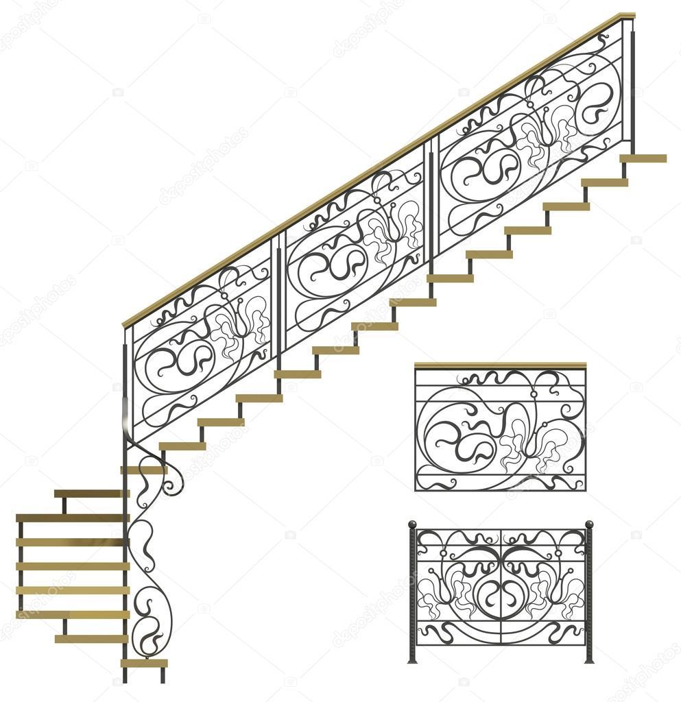 wrought iron stairs railing u2014 stock photo