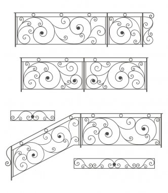 Vector set: wrought iron stairs railing, fence and grilles