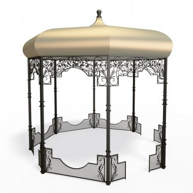 Wrought iron gazebo with flowers and leaves