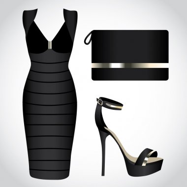 Little Black Dresses with handbag and high heels shoe,night dress clip art vector