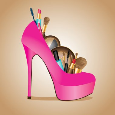 Slipper filled with all kinds of cosmetics: lipstick, mascara, brush, eye shadow, powder, pencils