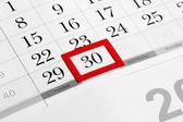 Fotografia pagina del calendario con data ultima selezionata del mese