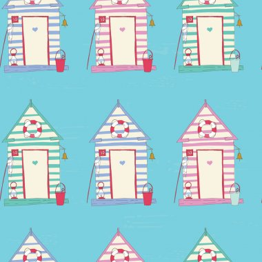 Beach Hut  seamless pattern