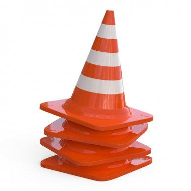 3D Traffic Cones isolated on white...
