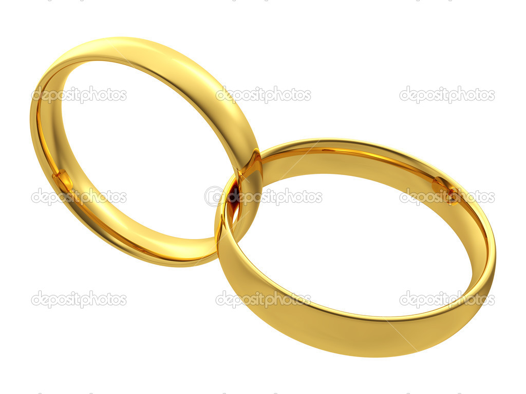 Two golden wedding rings isolated on white background Stock Photo