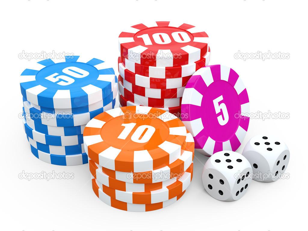 Piles De Jetons De Casino Sur Fond Blanc Illustration De Rendu 3d