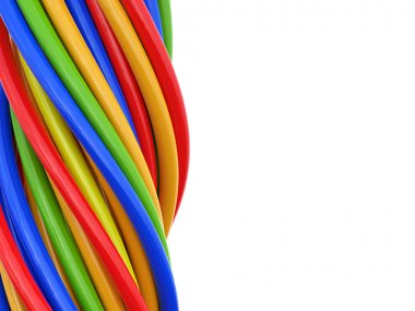 3D colored cables over white background