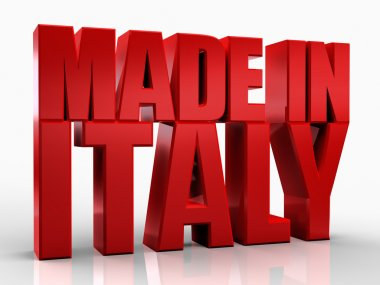 3D made in italy word on white isolated background