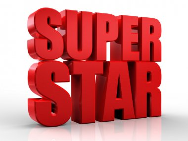 3D superstar word on white isolated background