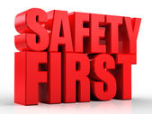 Fotografie 3d Safety First text isolated over white background