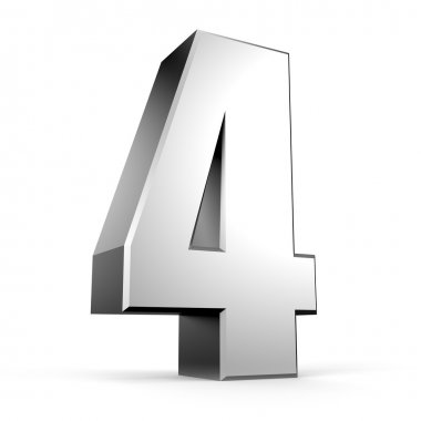 3D number 4 from my metal number collection