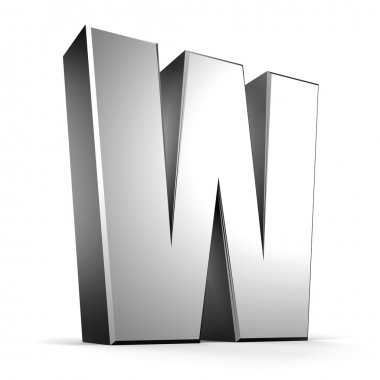 3D letter W from my metal letter collection stock vector