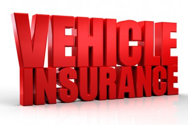 3d Vehicle Insurance text isolated over white background