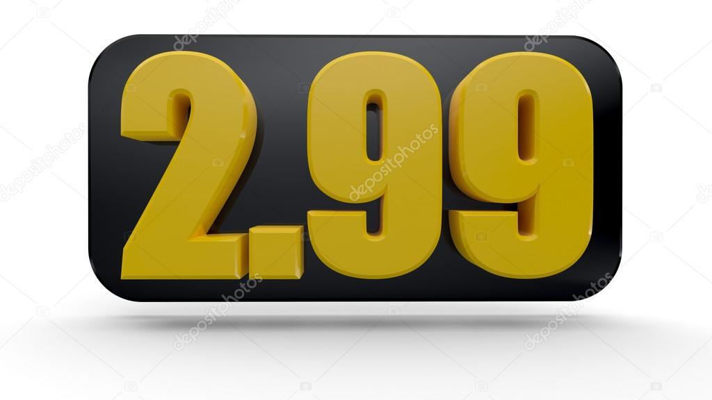 3d zestaw cena tag liczba 2 99 a ceną zdjęcie stockowe