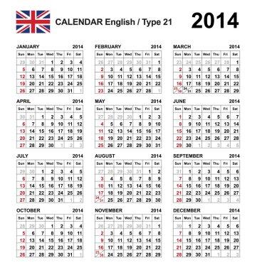 Calendar 2014 English Type 21