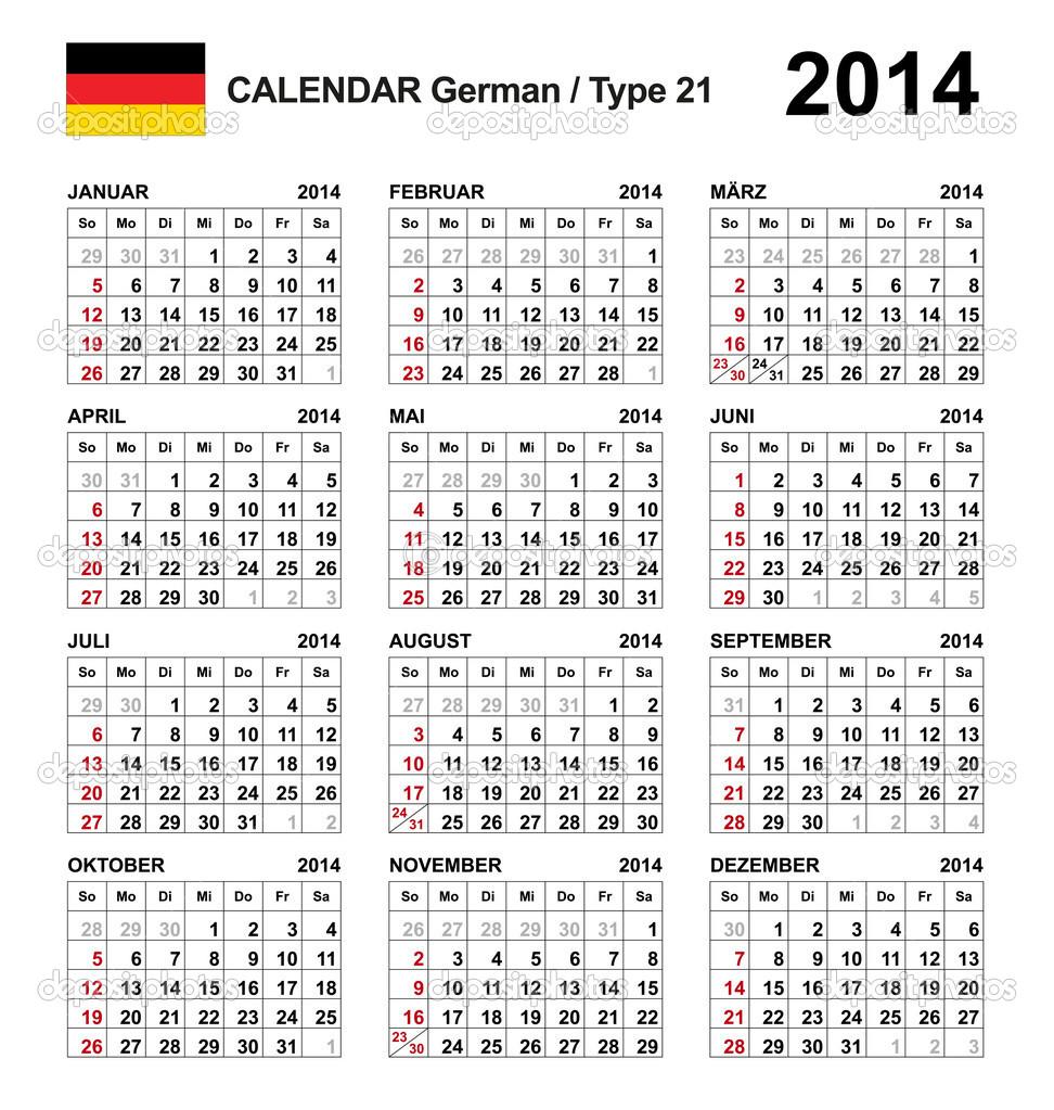 nemecky kalendar 2014 Kalendář 2014 německý typ 21 — Stock Vektor © newartgraphics #19756287 nemecky kalendar 2014