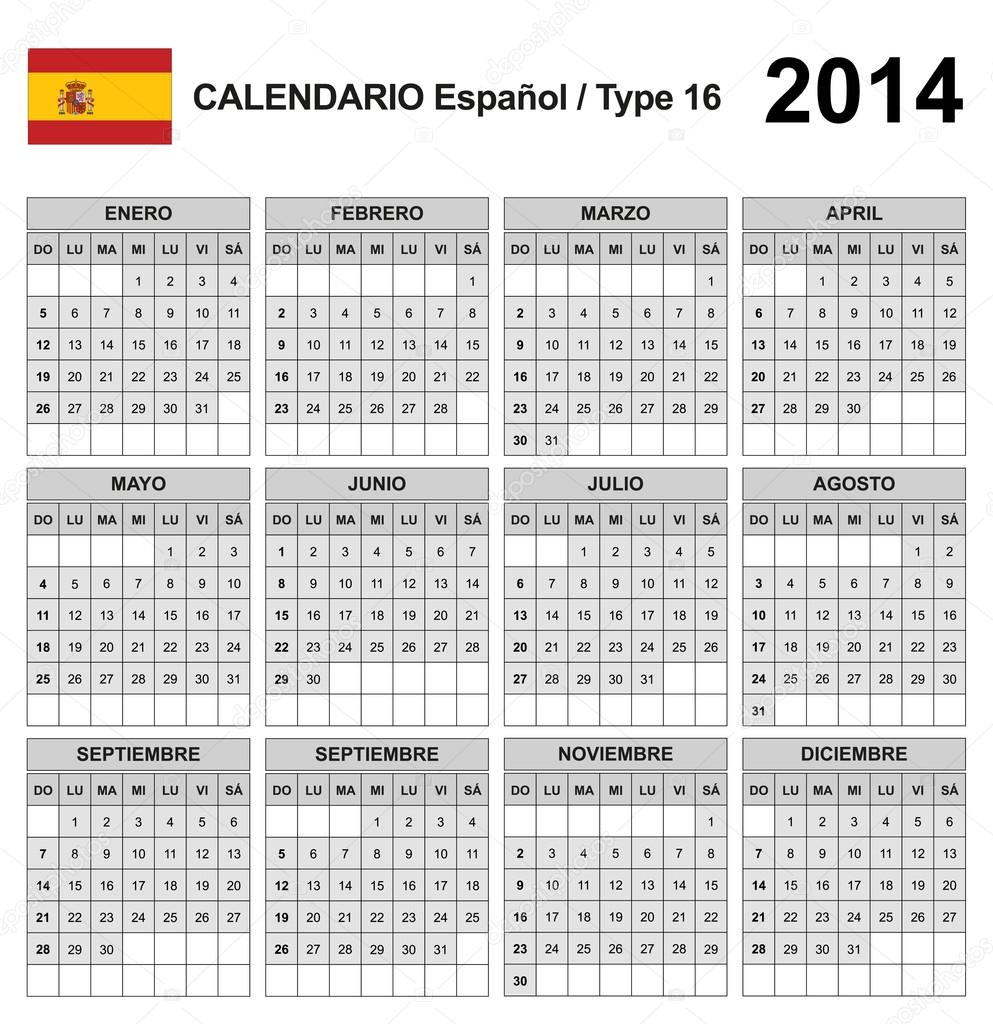tipo del calendario 2014 España 16 — Vector de stock ...