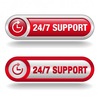 Text 24 7 service 3d red white banner, letters and block, business concept
