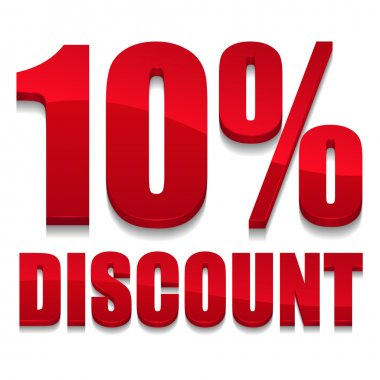 Red 10 percent discount sign