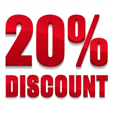 Red 20 percent discount sign