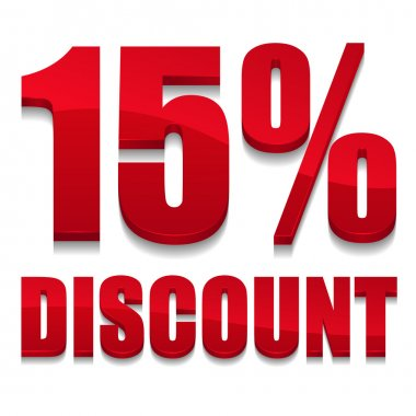Red 15 percent discount sign