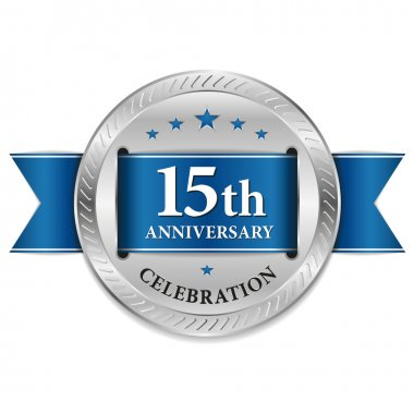 Blue fifteen year anniversary seal