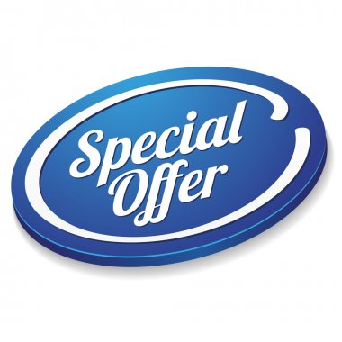 Big oval blue special offer button