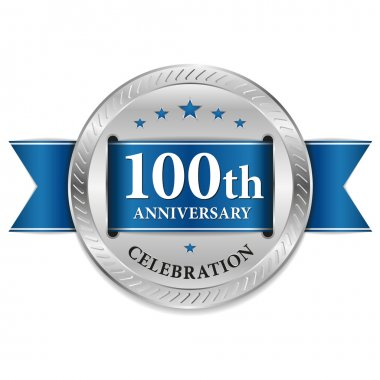 Blue 100 year anniversary seal
