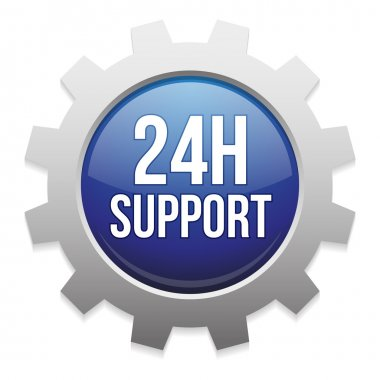 24 hour support gear button