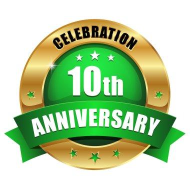 Blue 10 year anniversary button