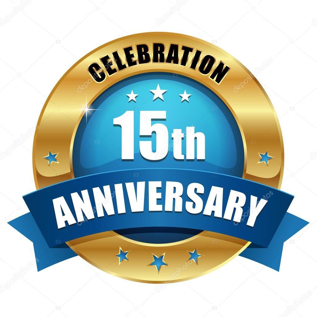 Gold 15 Year Anniversary Button Stock Vector