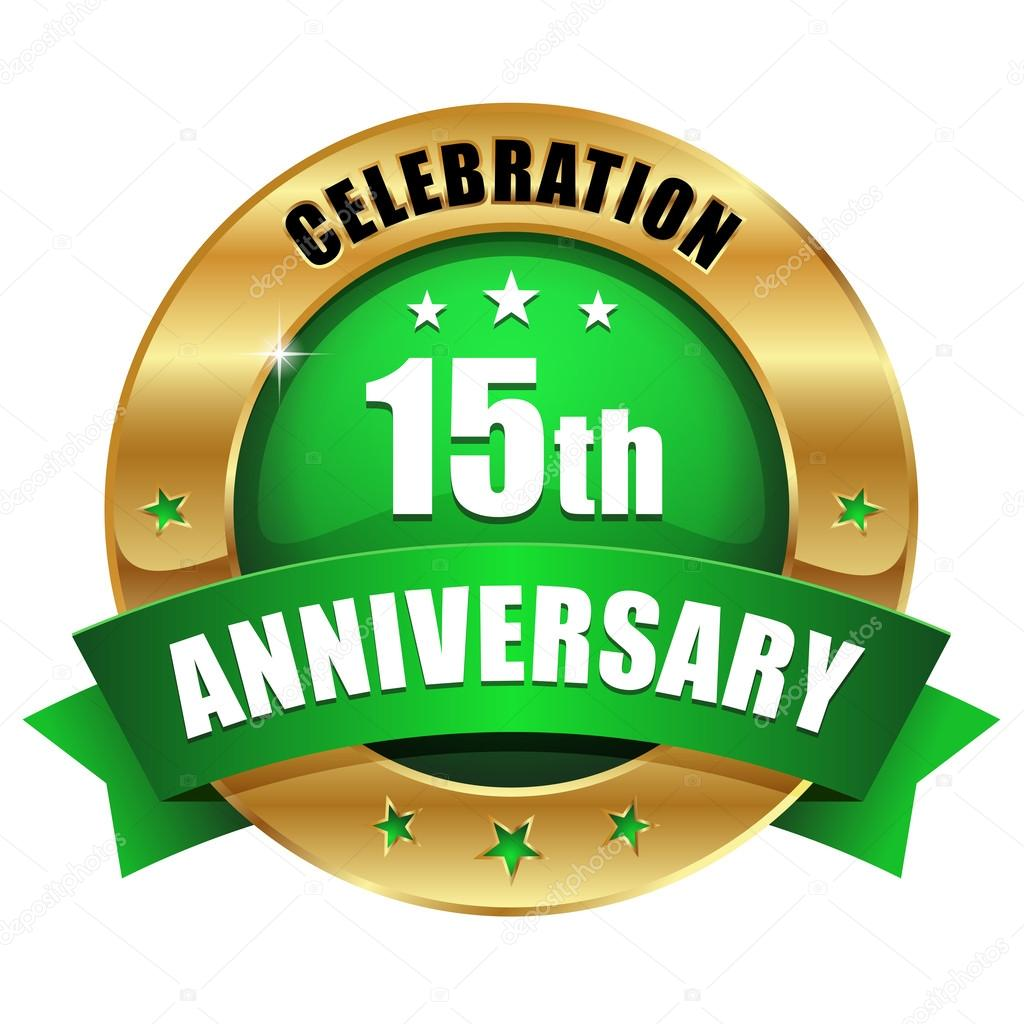 Gold 15 Year Anniversary Button Stock Vector Newartgraphics