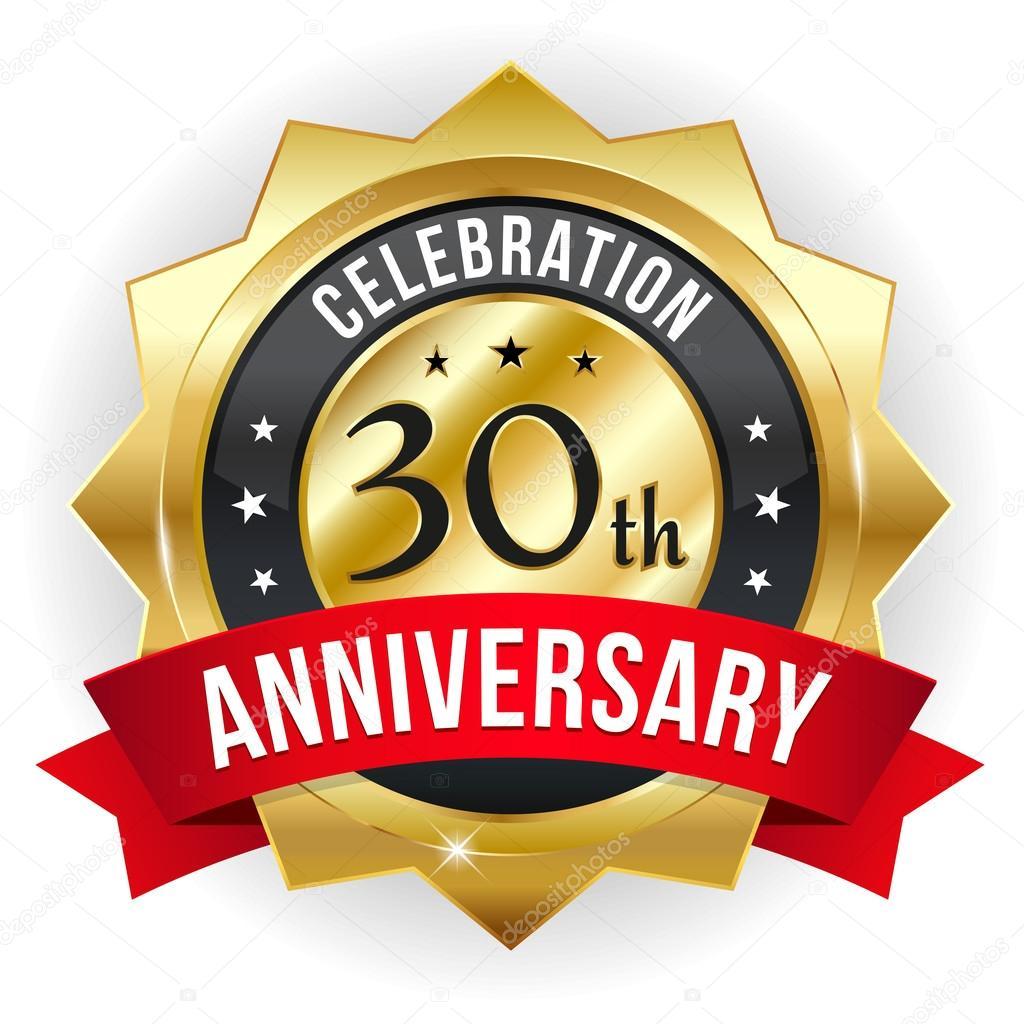 30 year anniversary button stock vector newartgraphics 33797037
