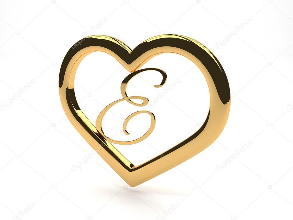 coeur de bijoux en or avec la lettre e l 39 int rieur photographie newartgraphics 34036709. Black Bedroom Furniture Sets. Home Design Ideas
