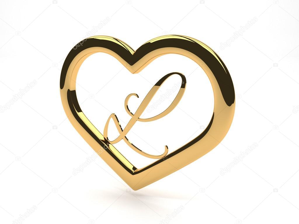 coeur de bijoux en or avec la lettre l l 39 int rieur photographie newartgraphics 34036719. Black Bedroom Furniture Sets. Home Design Ideas