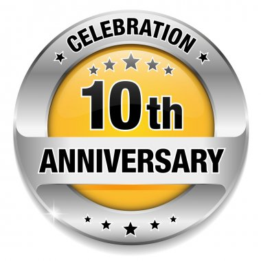 Yellow 10 year anniversary button