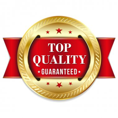 Red gold top quality badge with ribbon.