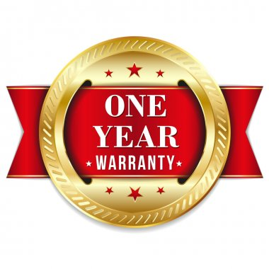 Red one year warranty button
