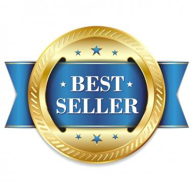 Gold blue best seller badge