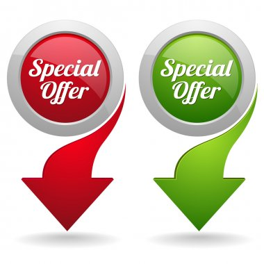 Red and green special offer buttons