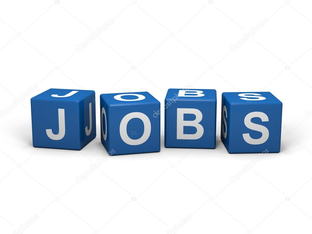 Cubes with jobs sign