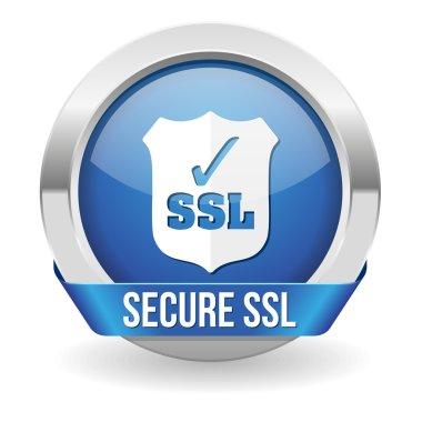 Blue round ssl certified button