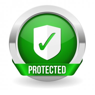 Green round protected button with metallic border